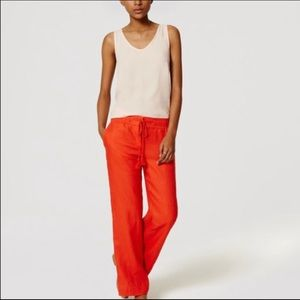 NWT Loft Linen Orange Wide Leg Drawstring Pants